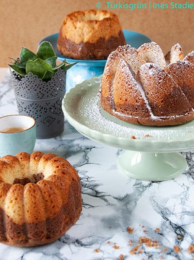 Glutenfreier Marmorkuchen mit flüssiger Schokolade