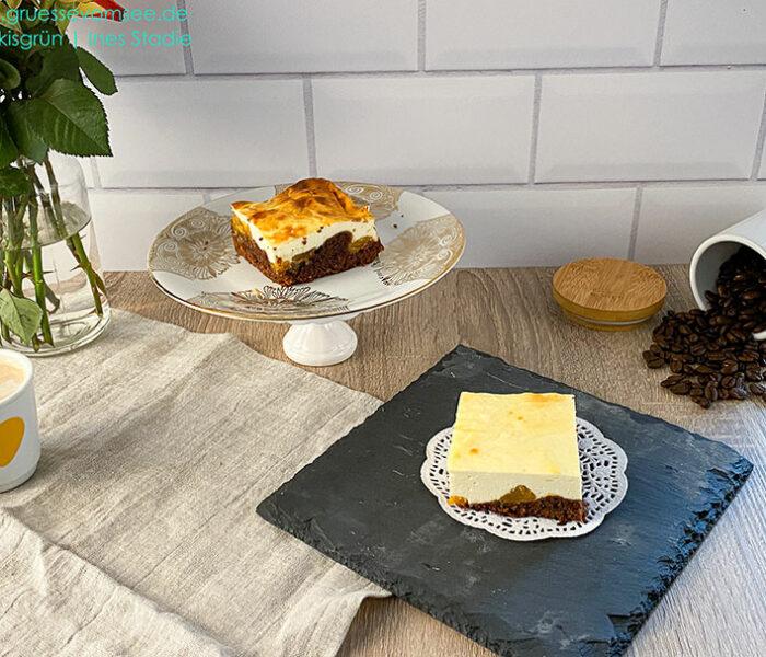 Gluten- und laktosefreier Käsekuchen mit Mandarinen und Brownieboden
